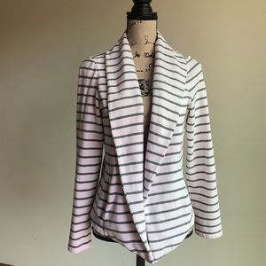 Lou & Grey grey and white striped open cardigan